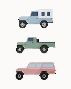 Conjunto de carro suv off-road. veículos todo-o-terreno.