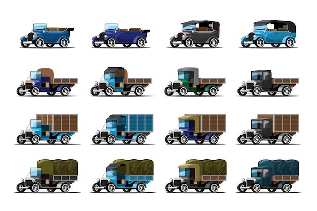 Conjunto de carros antigos em estilo retro em branco