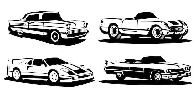Conjunto de carros clássicos de silhueta
