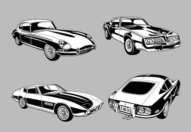 Conjunto de carros clássicos e muscle vintage em carros monocromáticos de estilo retro