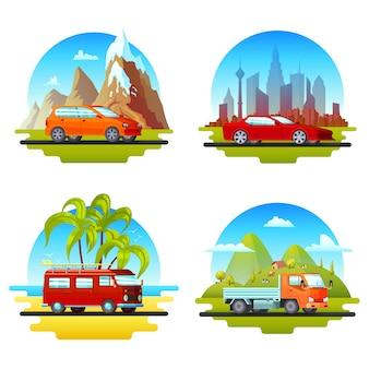 Conjunto de carros coloridos