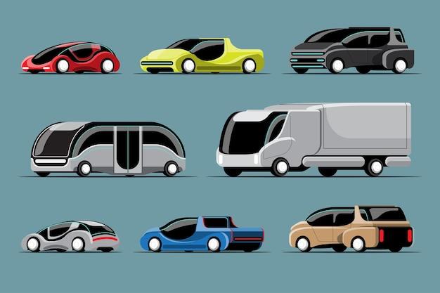 Conjunto de carros de alta tecnologia em estilo moderno em branco