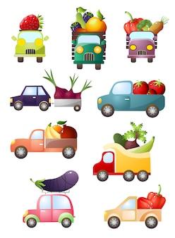 Conjunto de carros de brinquedo colorido com frutas e legumes frescos