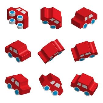 Conjunto de carros de brinquedo isométrico 3d