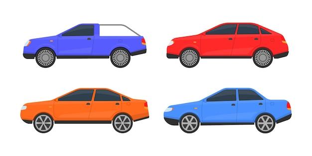 Conjunto de carros de cores diferentes. um grande conjunto de diferentes modelos de automóveis. transporte urbano, de automóveis e veículos urbanos.