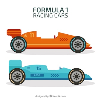 Conjunto de carros de corrida de fórmula 1 com design plano