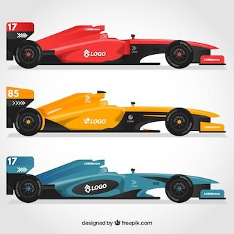 Conjunto de carros de corrida de fórmula 1