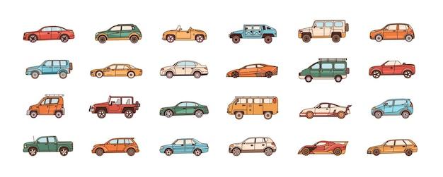 Conjunto de carros de diferentes estilos de configuração de carroceria - cabriolet, sedan, pickup, hatchback, van