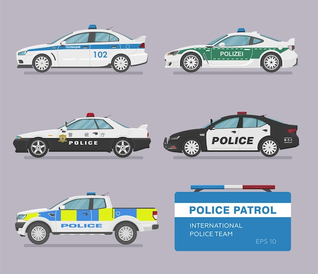 Conjunto de carros de polícia internacionais isolados
