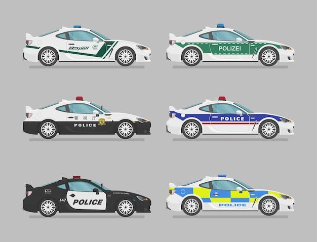 Conjunto de carros de polícia isolados