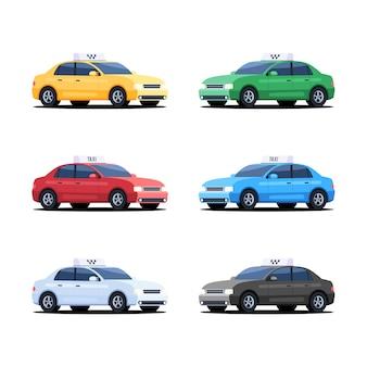 Conjunto de carros de táxi