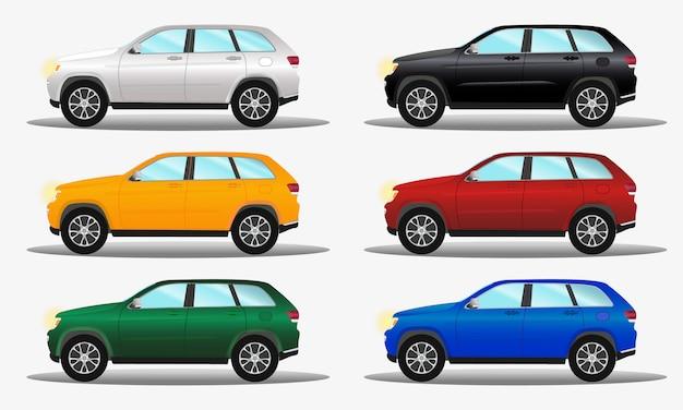 Conjunto de carros de terreno de cores diferentes: branco, amarelo, verde, blac