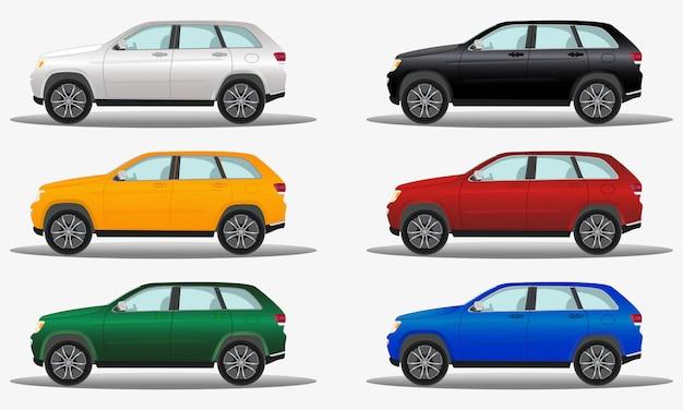 Conjunto de carros de terreno de cores diferentes, veículos offroad.