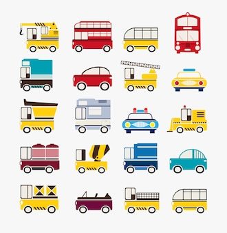 Conjunto de carros de vários tamanhos e cores, incluindo táxi, ônibus, trator, caminhão.