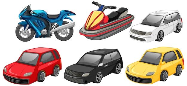 Conjunto de carros diferentes isolados no fundo branco
