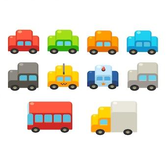 Conjunto de carros dos desenhos animados