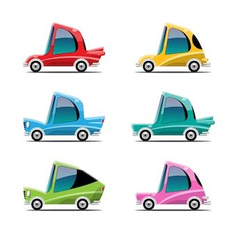 Conjunto de carros esporte em estilo cartoon em branco