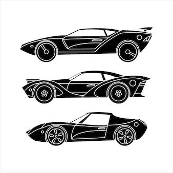 Conjunto de carros esportivos. carros retrô. ícones de silhueta negra.
