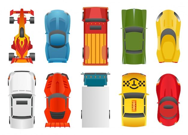 Conjunto de carros esportivos e de corrida
