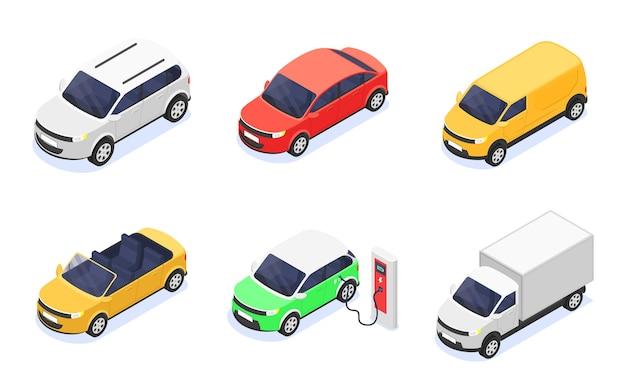 Conjunto de carros isolados em um fundo branco. ilustração isométrica do vetor.