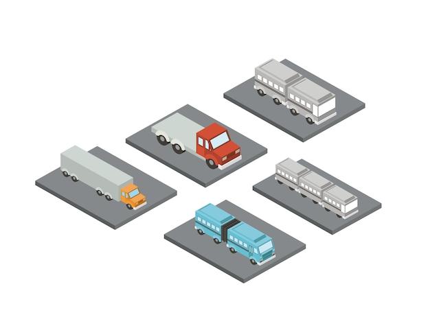 Conjunto de carros isométricos proy ícone