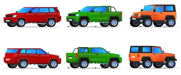 Conjunto de carros, pickups e todo-o-terreno