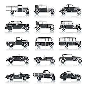 Conjunto de carros retrô