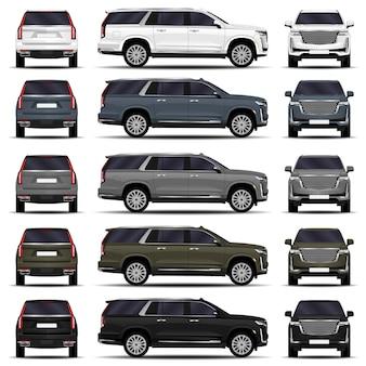 Conjunto de carros suv realistas. vista frontal; vista lateral; vista traseira.