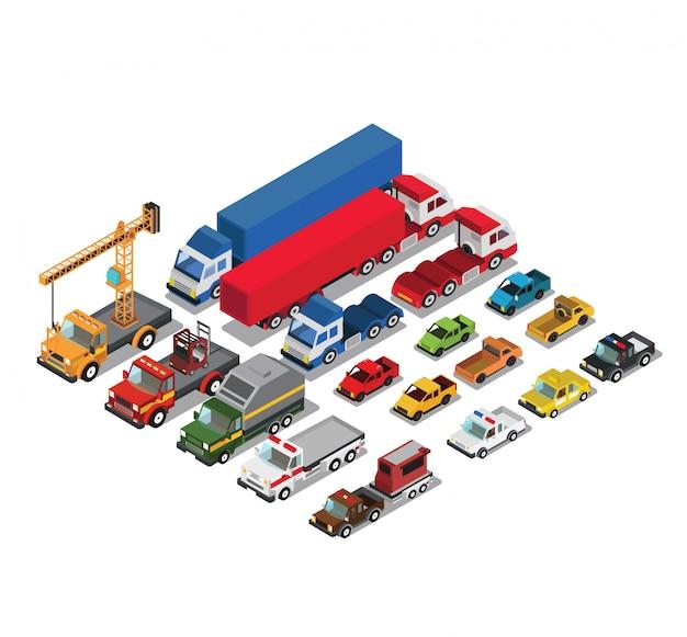 Conjunto de carros urbanos públicos e de transporte de mercadorias