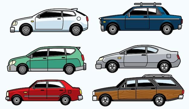Conjunto de carros urbanos