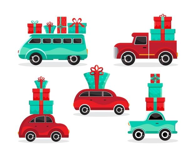 Conjunto de carros vermelhos e verdes com presentes
