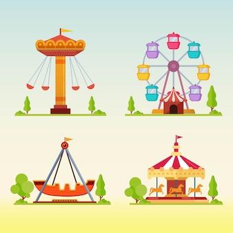 Conjunto de carrosséis na feira de diversões de carnaval