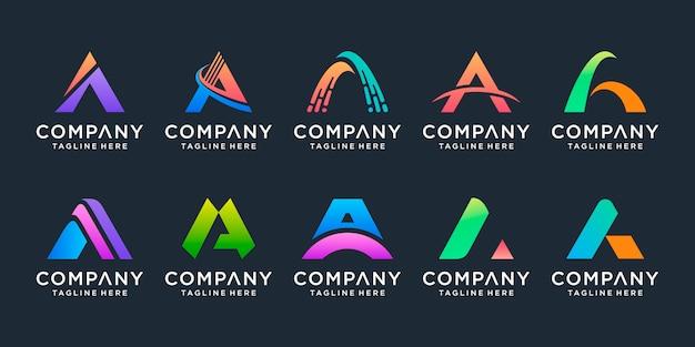 Conjunto de carta de monograma criativo um modelo de logotipo.