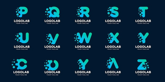 Conjunto de carta de monograma de coleção com modelo de logotipo de conceito de ponto e molécula.
