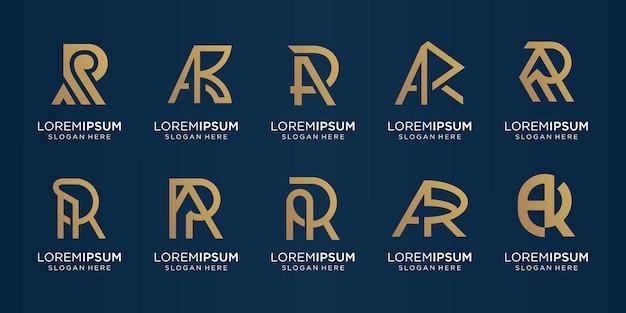 Conjunto de carta de monograma de coleção um design de letra r de combinação. logotipo para negócios da empresa, tecnologia.