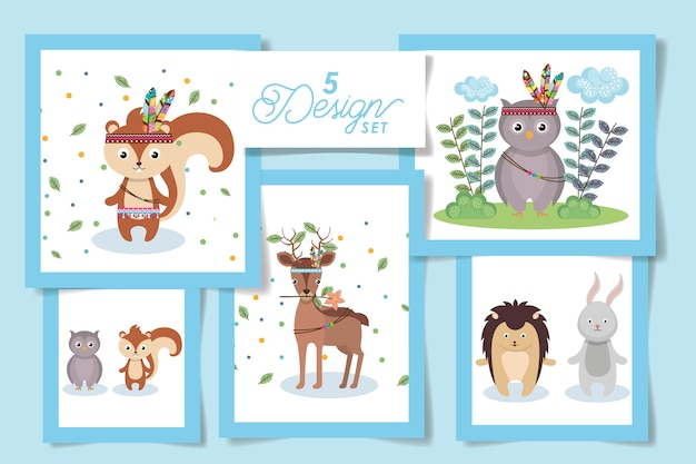Conjunto de cartão animal indiano bonito