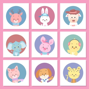 Conjunto de cartão bonito animal