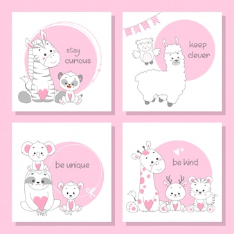 Conjunto de cartão bonito feliz animal