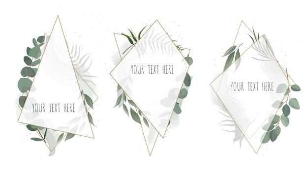 Conjunto de cartão botânico floral de vetor