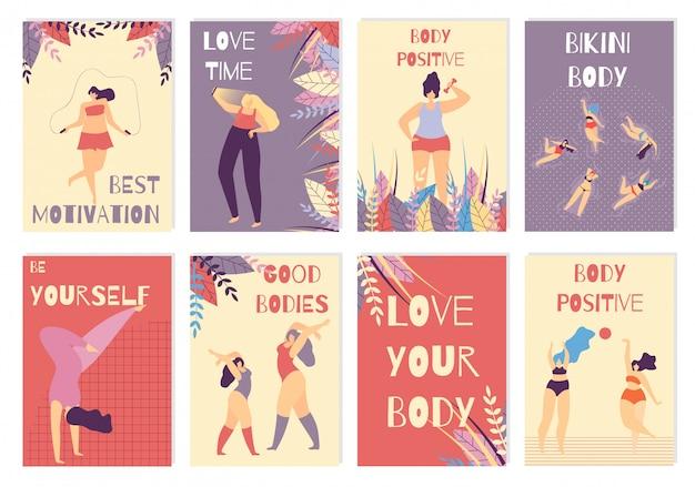 Conjunto de cartão colorido positivo corpo mulher motivação