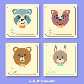 Conjunto de cartão com animais com gravatas