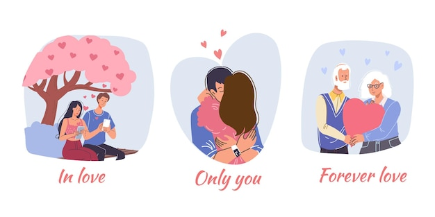 Conjunto de cartão com casal apaixonado em seu encontro no dia dos namorados