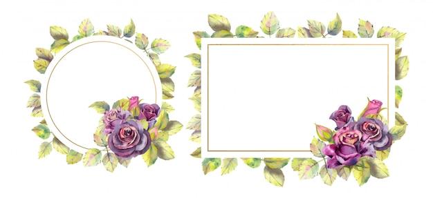 Conjunto de cartão com flor rosa escura, folhas.