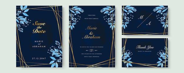 Conjunto de cartão com flor rosa, folhas. conceito de casamento azul marinho e ouro. cartaz floral, convite. cartão decorativo de vetor ou fundo de design de convite