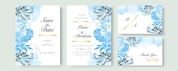 Conjunto de cartão com flor rosa, folhas. conceito de casamento branco azul e dourado. cartaz floral, convite. cartão decorativo de vetor ou fundo de design de convite