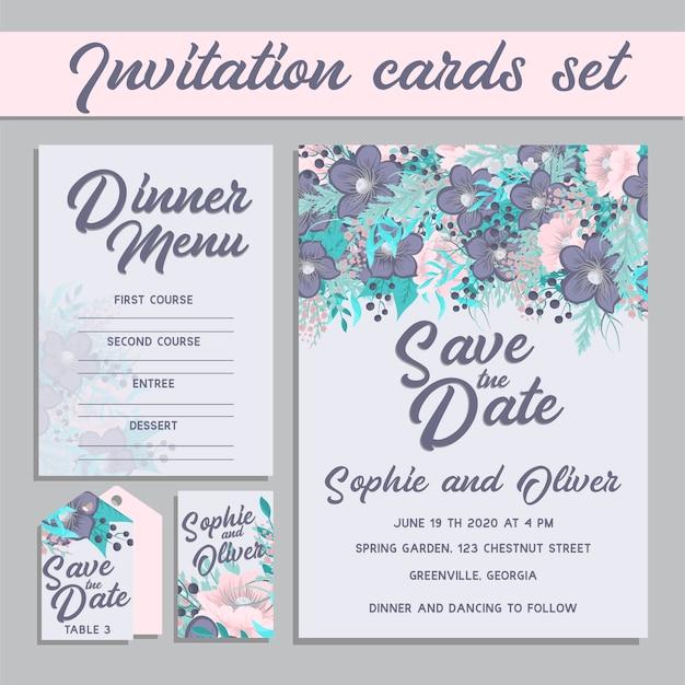 Conjunto de cartão com flor rosa, folhas. conceito de enfeite de casamento.