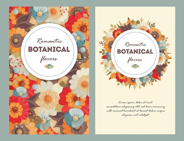 Conjunto de cartão com flores coloridas.