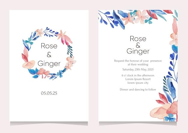Conjunto de cartão com flores em aquarela. cartão de felicitações, modelo de design de convite de casamento