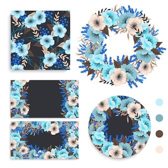 Conjunto de cartão com flores, folhas. enfeite de casamento. revista floral, cartaz, convite.