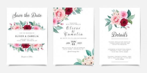 Conjunto de cartão com flores. modelo de convite com moldura floral e buquê
